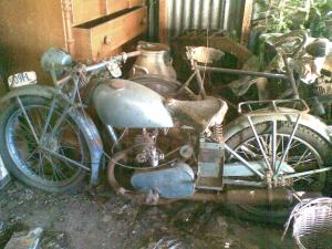 The old James motorcycle the family were moving yesterday