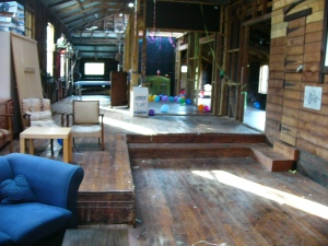 The wool shed before the pawty started