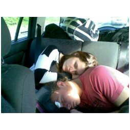 Here is sister and boyfriend asleep in the back of daddy's car after the half marathon