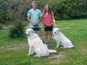 Boyfriend, sister and Me and Nellie just about to go for a walk.