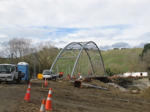 The new bridge being built over the Whangaehu River at the entrance to the Mangamahu Valley.