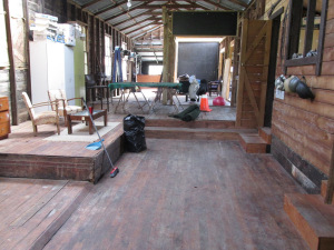 The inside of the woolshed. As you see it does need a bit of a tidy up.
