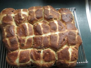 Daddy's home made hot cross buns.  Don't they look good?